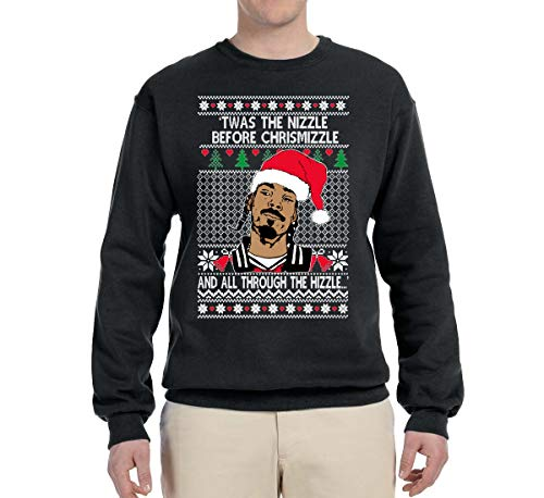 Wild Bobby Nizzle Before Chrismizzle Snoop Funny Holiday | Mens Ugly Christmas Sweater Crewneck Graphic Sweatshirt, Black, Medium