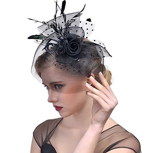 Vic Gray Women's Elegant Fascinator Ladies Party Wedding Hair Accessories Feather Veil Headwear Black