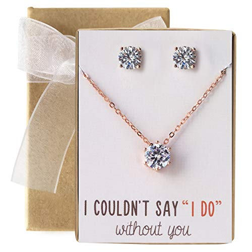 AMY O Bridesmaid Jewelry Gift Cubic Zirconia Necklace Set (Rose Gold, Set of 1)