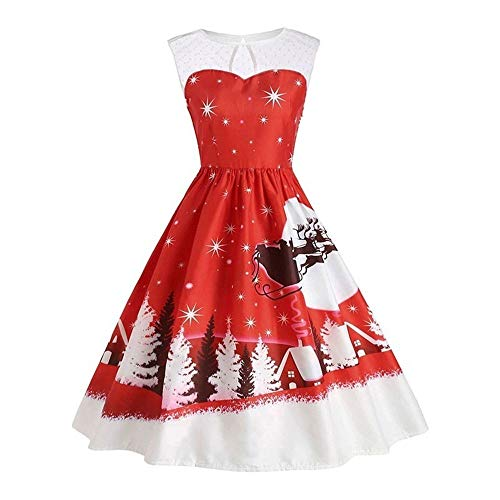 GREFER Christmas Costume, Women's Vintage Christmas O-Neck Printed Sleeveless A-Line Swing Dress Red