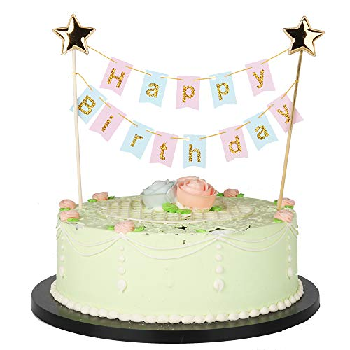 Birthday Cake Star (LXZS-BH Mini Happy Birthday Cake Topper,Gold Glittering Five-Pointed Star Birthday Cake Ornament-Blue, Pink, Gold Glittering Cake Decoration Supplies(Multicolor))