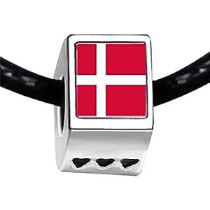Chicforest Silver Plated Denmark flag Photo Three Heart Charm Beads Fit Pandora Chamilia Biagi Charm Bracelet
