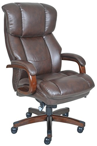 La-Z-Boy Fairmont Big & Tall Executive Bonded Leather Office Chair – Biscuit (Brown)