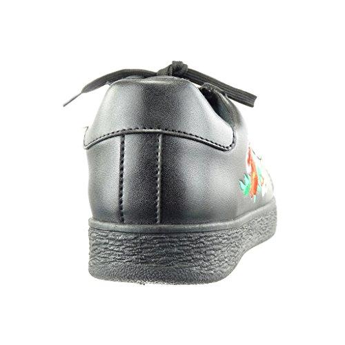 Angkorly - Chaussure Mode Baskets basse femme fantaisie brodé finition surpiqûres coutures Talon plat 0 CM - Noir