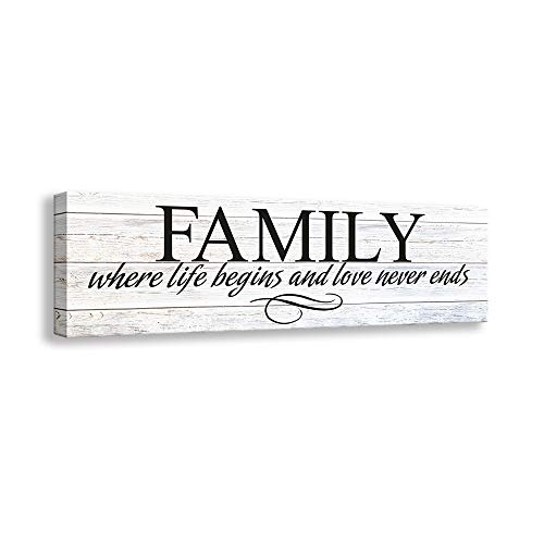 Inspirational Motto Canvas Wall Art,Family Prints Signs Framed, Retro Artwork Decoration for Bedroom, Living Room, Home Wall Decor (5.5 X 16 inch, Family) (Family Wall Plaques)