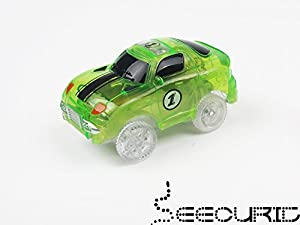 Light Up Toy Car and Fire Truck (2-Pack) Glow in the Dark Racing Track Accessories | Boys and Girls