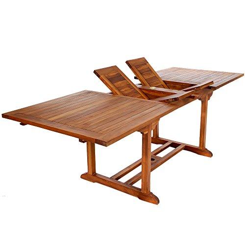 All Things Cedar TE90 Teak Rectangular Extension Patio Table -