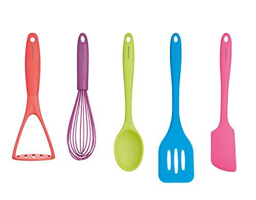 Colourworks CWBRTOOLS5PC – Juego de utensilios de cocina, Silicona, Multicolor