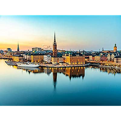 "60 Piece Jigsaw Puzzles Blue Sky Sunset View Gamla Stan Stockholm from Sodermalm Island Sweden 7.1""x9.1"" Adult Children Wooden Educational Toy Game Supplies for Home Decoration Creative Gift: Toys & Games"
