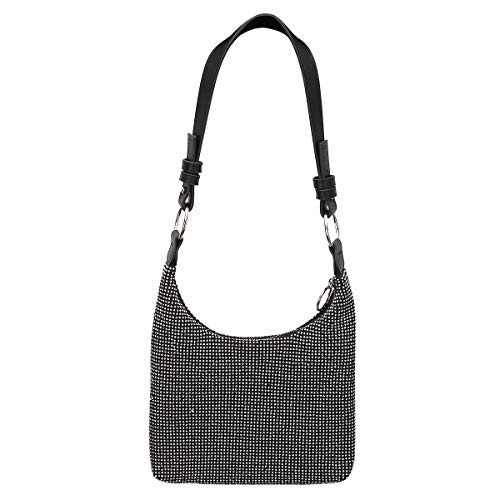 (Crystal Rhinestone Shoulder Handbags Crossbody Hobo Bags Purse Women's Trendy Wristlet Clutch Shopping Bag in black)