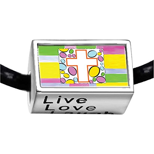 Silver Plated Easter Day white cross cartoon Photo Live Love Laugh Charm Beads Bracelets European