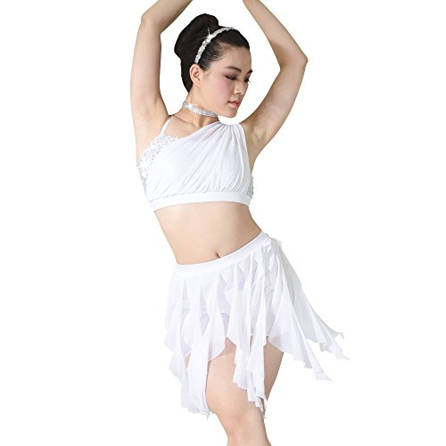 MiDee Dance Costume 2 Pieces Sequins One Shoulder Diagonal Crop Top Spiral Skirt (SA, White)