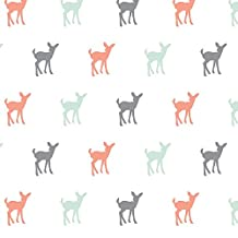 Fawn Fabric Multi Fawn (Small Scale) - Coral,Grey,Mint by Littlearrowdesign Printed on Minky Fabric by the Yard by Spoonflower