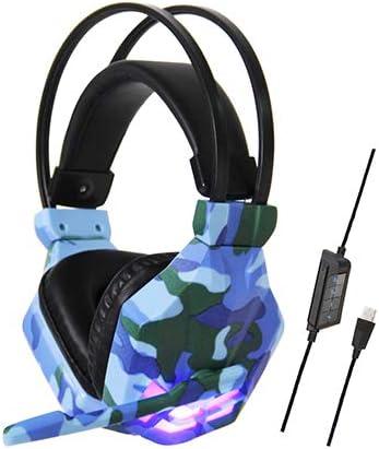 con luz LED de micrófono con Auriculares USB para Juegos PS4 con reducción de Ruido, Auriculares con Sonido Envolvente 7.1 para PC, PS4, computadora portátil, iPad, Xbox One, etc (7.1,Blue)