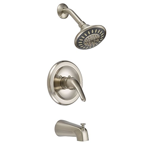 (Designers Impressions 615625 Satin Nickel Tub Shower Combo Faucet - Single Handle Mixer Design - Multi-Setting Shower)