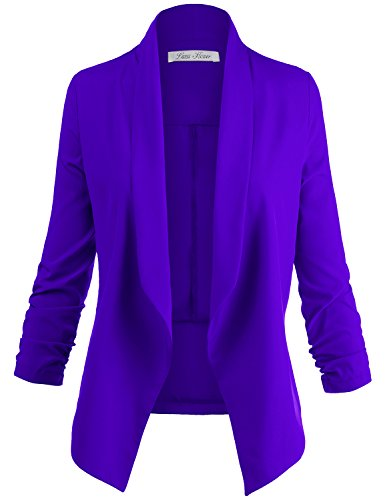 Solid color 3 / 4 Cinched Sleeve Open Front Blazer Jackets, 009 - Royal Blue, US - Jacket Dress Textured Cropped