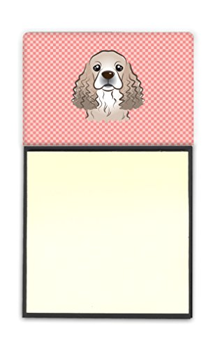 Caroline's Treasures Checkerboard Pink Cocker Spaniel Refillable Sticky Note Holder Postit Note Dispenser, 3.25 5.5
