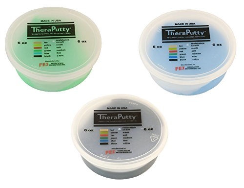 TheraPutty Antimicrobial Exercise Putty Green - Medium, Blue - Firm, Black - X-firm 6 OZ Each - Bundle by Theraputty