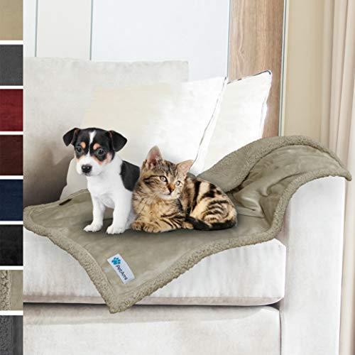 PetAmi Premium Puppy Blanket | Pet Small Dog Blanket for Cats, Kitten | Soft, Warm, Plush, Reversible Fleece Sherpa Throw - 30x40 Inches Taupe Taupe