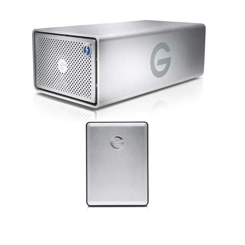 G-Technology 20TB G-RAID Removable Thunderbolt 2 USB 3.0, Hardware RAID 2-Bay Storage Solution with Enterprise Class 7200RPM Hard Drives - with G-Drive Mobile 1TB Micro-USB 3.0 External Hard Drive ()