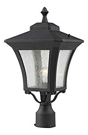 Sand Black Waterdown 1 Light Sand Black Post Light With Clear Glass Shade