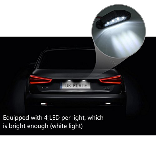 License Plate Light 2 x 4LED License Number Plate Light 2PCS Waterproof Shock Resistant Tail Rear Lights for 12 24V Truck Trailer Lorry White Light