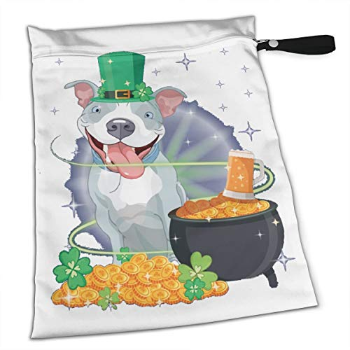 Dog Dog Leprechaun St Patricks Day Premium Wet Bag Baby Wet Dry Cloth Diaper Nappy Stroller Bags Waterproof Reusable Wet Bags for Swimsuit Wet Clothes Baby Items with Zipper]()