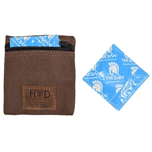 Waxed Canvas Condom Pouch/Change Valuables Pocket Tech Purse Handmade by Hide & Drink :: Honey Bourbon