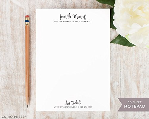 CUTIE MOMMA NOTEPAD - Personalized Stationery Pad - Stationary Note Pad - From the Mom Of by Curio Press