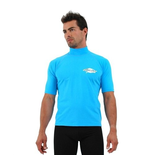 UVカット 水着 - メンズ レディース ユニセックス(男女共用) ラッシュガード 半袖 プラスサイズ サイズ:2XL カラー:スカイ   B00GV5SPPA