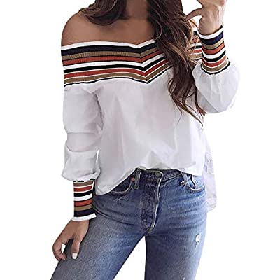 ASERTYL Women's Striped Neckline Loose t Shirt Blouses Autumn Casual Multicolor Long Sleeve Off Shoulder Top Blouse