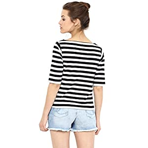 Miss Chase Women's Multicolored Boat Neck Half Sleeves Solid Regular Striped Top