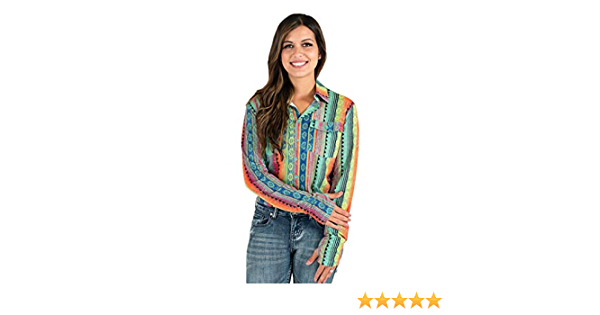 Cowgirl Tuff Western Shirt Womens L//S Aztec Button Multi-Color 100374