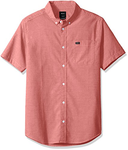 RVCA Men's Thatll DO Stretch Short Sleeve Woven Button UP Shirt, Pompeii red, S Button Up Woven Shorts