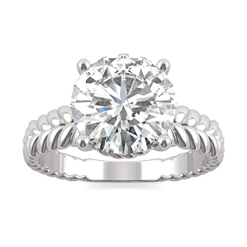 14K White Gold Forever Brilliant 9mm Round Solitaire Engagement Ring- size 5, 2.70ct DEW by Charles & Colvard