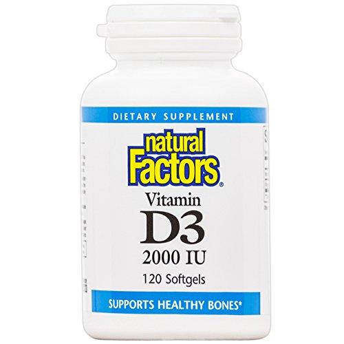 Natural Factors - Vitamin D3 2000 IU, Supports Healthy Bones, 120 Soft Gels