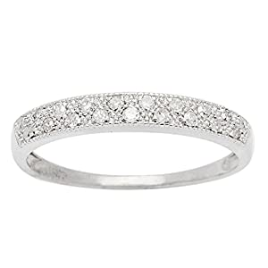 Instagems 10k White Gold Diamond Anniversary Wedding Band (1/5 cttw, I J Color, I2 I3 Clarity)