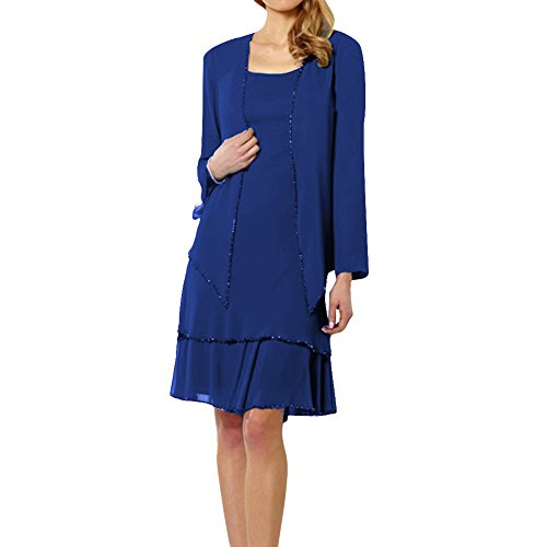 Dressyu Women's Sexy Short Tiered Chiffon Mother of the Bride Dress with Jacket Royal Blue US8