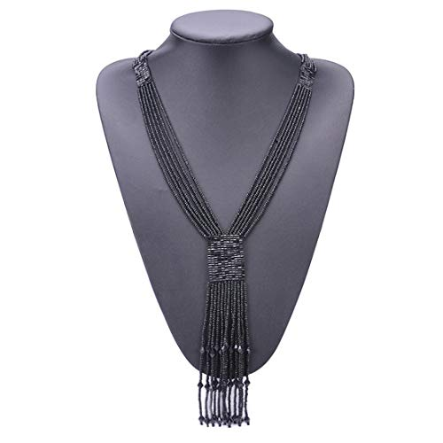 (IDB Delicate Filigree Dangle Glass Seed Beaded Tassel Necklace Stunning Bohemia Style with Approx 8.3