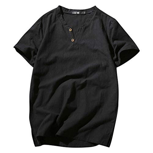 XQXCL Men's Solid Color Round Neck Button Short-Sleeved Shirt Cotton Hemp Top Black