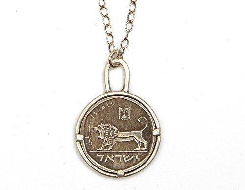 - Handmade Lion Israeli Coin Pendant Necklace, 19.7