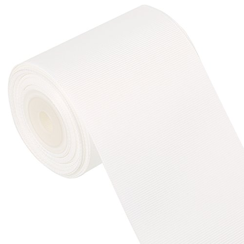 LaRibbons 3 Inch Wide Solid Color Grosgrain Ribbon - 10 Yard/Spool (White)