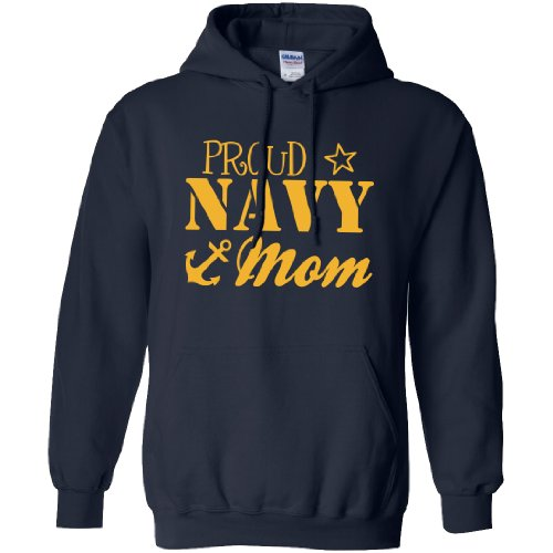 Proud Navy Mom Hooded Sweatshirt in Navy - XX-Large (Us Navy Mom Sweatshirt)