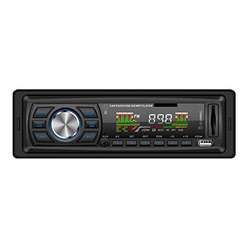 Masione® Autoradios Stereo mit USB Anschluss & SD Kartenslot für MP3 und WMA + Verkürzte Einbautiefe + AUX IN + Single DIN (1 DIN) Standard Einbaugröße + inkl. Fernbedienung
