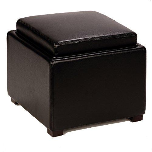 Cortesi Home Bonded Leather Mavi Storage Tray Top Ottoman, (Leather Ottoman Tray)
