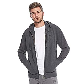 Tokyo Laundry Embroidered Zip Through Hoody For Men - Blackened Pearl, Black, S