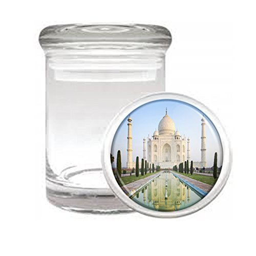 Famous Landmark The Taj Mahal India S4 Medical Glass Stash Jar Air Tight Lid 3 x 2 Small Storage Herbs /& Spices