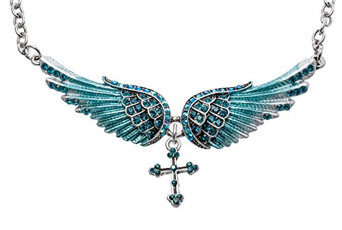 Hiddlston Crystal Guardian Angel Wing Jewelry Cross Custom Choker Necklace Chain For Women Teen Girls ()