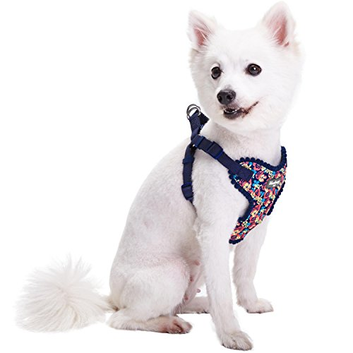 Blueberry Pet 5 Patterns Soft & Comfy Made Well Profound Floral No Pull Mesh Puppy Dog Harness Vest in Navy, Chest Girth 14-16, X-Small, Adjustable Harnesses for Dogs & Cats