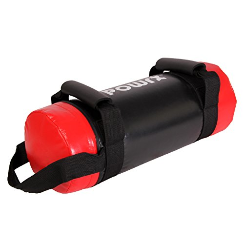 Powerbag 5 - 30 kg Kunstleder Sandbag für Functional Fitness von POWRX (10 kg Schwarz/Rot)
